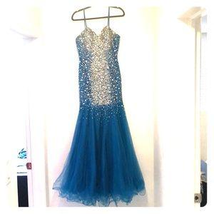 Terani Couture Aqua Mermaid Gown